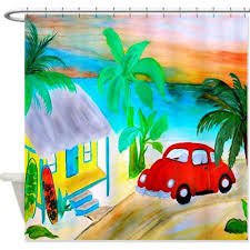 Coastal Shower Curtain by Vw Red Beetle Bug Beach House Coastal Shower Curtain U2013 Art Gifts