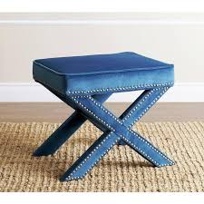 living marcus petrol blue nailhead trim ottoman bench