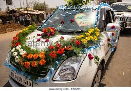 indian wedding car decoration decorated car flowers indian wedding stock photos decorated car