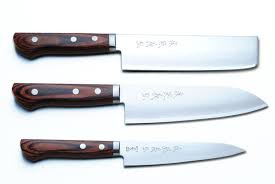 kitchen knive set yoshihiro vg 1 gold stainless steel santoku nakiri petty chef
