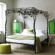 Wrought Iron Canopy Bed Home Design Black Leaves Pattern Wrought Iron Four Poster Canopy