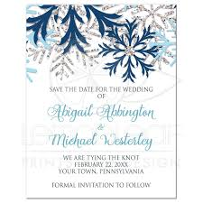 save the date card the date cards winter snowflake blue silver