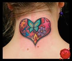butterfly and star trail neck tattoos real photo pictures
