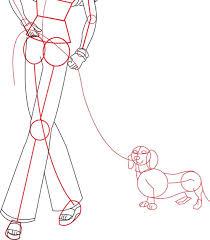 draw barbie doll walking daschund dog drawing lesson