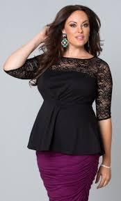 Myer Basement Dresses Plussizefashion Allure Lace Peplum Top Black Noir At