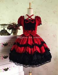 Ball Gown Halloween Costume Custom 2017 Short Sleeve Palace Gothic Lace Dresses
