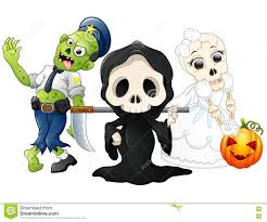 halloween costumes kids with grim reaper skull bride and zombie