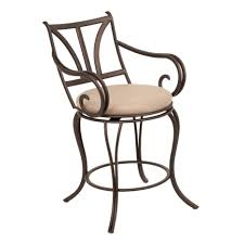 classic outdoor brown polished wrought iron swivel bar stool with