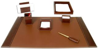 Brown Leather Desk Accessories Rustic Brown Leather 7 Desk Set Waucust335530 Wood Arts
