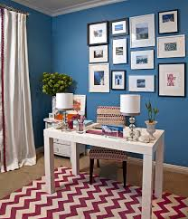 home office wall decor ideas in blue walls minimalist desk cool