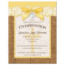 confirmation invitation confirmation invitation yellow and ivory lace faux burlap cross