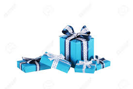 bows for gift boxes wrapped blue gift boxes with ribbon bows isolated on white stock