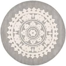 safavieh soho light grey ivory 8 ft x 8 ft round area rug
