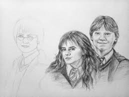 the golden trio drawing harry potter amino