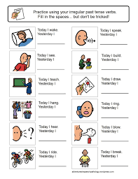 irregular past tense verb worksheets preschool speech and
