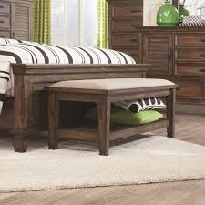 Oak Bedroom Bench Coaster 200977 Franco Fabric Uph Bedroom Bench With Lower Shelf In