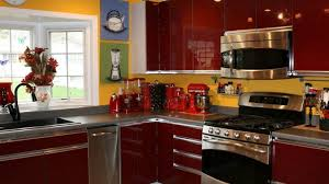 gray and yellow kitchen dark brown wood floor paint black shiny