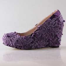 handmade dark purple eggplant lace rhinestone pearl wedge shoes