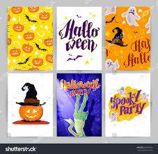 Halloween Card Invitation Vector Collection Cartoon Halloween Spooky Cards Stock Vector