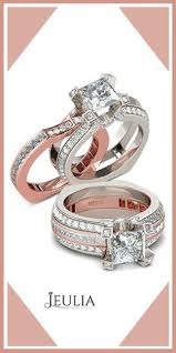 Jeulia Wedding Rings by Interchangeable Two Tone Radiant Cut Created White Sapphire