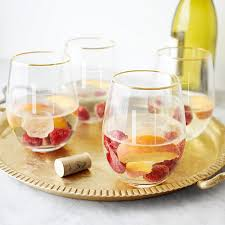 personalized 19 oz gold rim stemless wine glasses set of 4