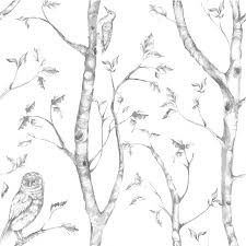 trees and birds peel and stick wallpaper farmhouse wallpaper