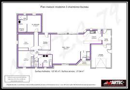bureau et maison plan maison contemporaine plain pied en l 3 chambres et garage