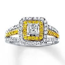 citrine engagement rings 1 carat princess cut diamond and citrine engagement ring in white