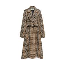 Tartan Laura Coat Grey Wool Tartan Autumn Winter U002717 Mulberry