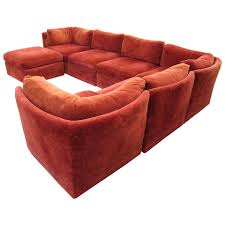 Contemporary Curved Sectional Sofa by Curved Seven Piece Signed Milo Baughman Sectional Sofa Mid