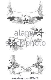 rustic ribbon rustic ribbon banner with flowers stock vector