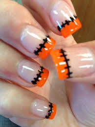 nails manicure halloween stitches cute holiday fun pretty orange