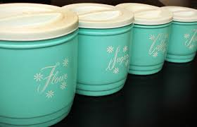retro canisters kitchen vintage 1950s turquoise canister set shabby cottage chic 1960s retro