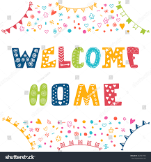 welcome home text colorful design elements stock vector 297393740