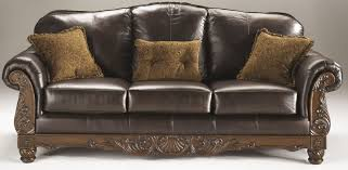 Furniture Leather Sofa North Shore Dark Brown Living Room Set From Ashley 22603