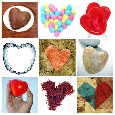 heart shaped items a collage of nine pictures of different heart shaped items stock