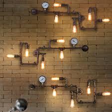Bedroom Light Fitting Vintage Steampunk Pipe Bar Wall Lamp Industrial Rustic Loft Wall
