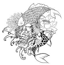 japanese demon mask and carp fish tattoo design hand drawn oni