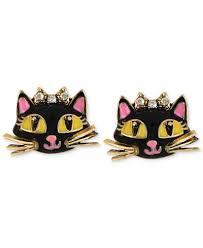 cat stud earrings betsey johnson antique gold tone cat stud earrings jewelry