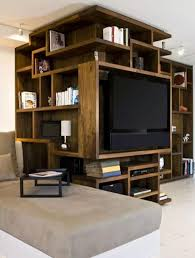 furniture unique wooden bookshelves design with tv stand ideas