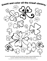 count and color all the four leaf clovers for st patrick u0027s day
