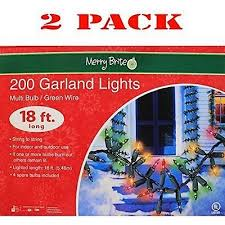 merry brite 200 garland lights multi bulb green wire 18 ft 1 pack