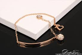 rose gold plated charm bracelet images Double fair ol style cz diamond ball fashion party charm bracelets jpg