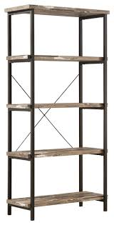 Shelves Bookcases Skelton Modern Rustic Bookcase With Metal Frame And Distressed