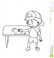 little boy wiping table coloring page stock illustration image