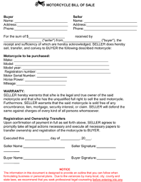 motorcycle bill of sale template 8ws templates u0026 forms