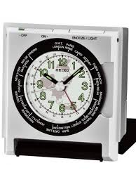 travel clock images Seiko travel alarm clock with dial light and fold out stand qhe116slh jpg