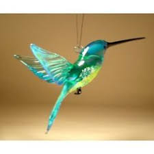 blown glass hummingbird ornament suncatcher light green
