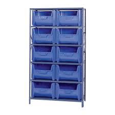 quantum storage metal shelving unit with 10 giant hopper bins