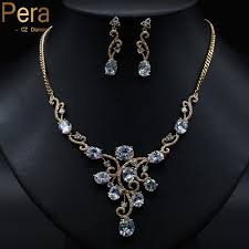 white stone gold necklace images Pera luxury women wedding party jewelry white crystal stone paved jpg